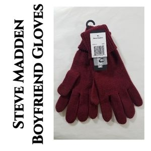 Steve Madden Burgundy Boyfriend Gloves NEW